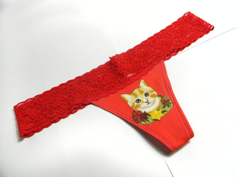 Christmas Pussy Panties Cat Underwear Red Lace thong White Elephant Gift
