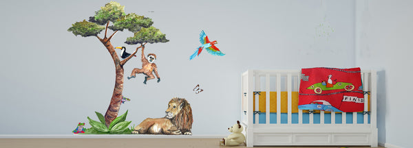 Handpainted wall art sticker jungle tree with lion