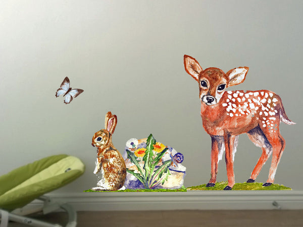 Handpainted art sticker woodland rabbit and fawn