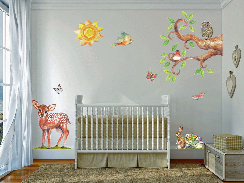 handpainted art wall stickers countryside set