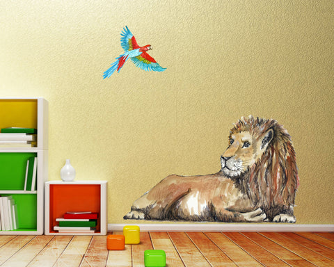handpainted wall art sticker lion and parrott