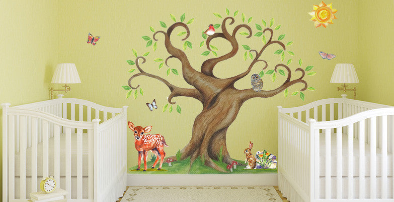 Countryside set with large tree sticker