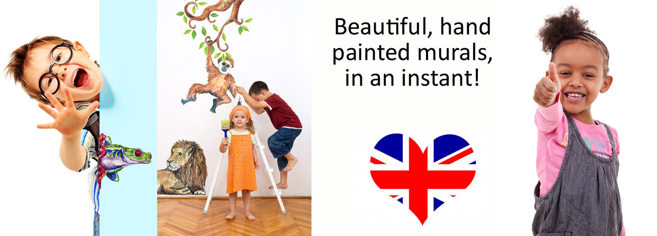 Happy children with hand painted stickers