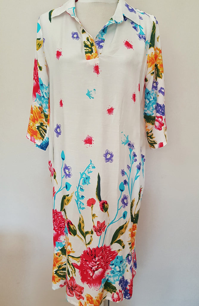 Gabriella Dress - White floral