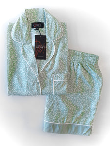 Short Pyjama Set - Mint & White floral dot/stripe set