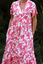 Santorini Tiered Dress - Cerise/White floral print