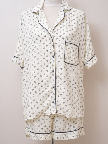 Short Pyjama Set - creme/black
