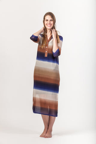 Summer Maxi Dress - Navy/Brown