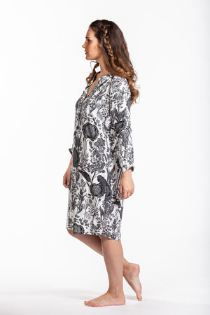 Tyla Dress - White and Black Floral
