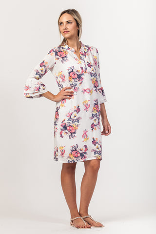 Bella Dress - white/pink floral