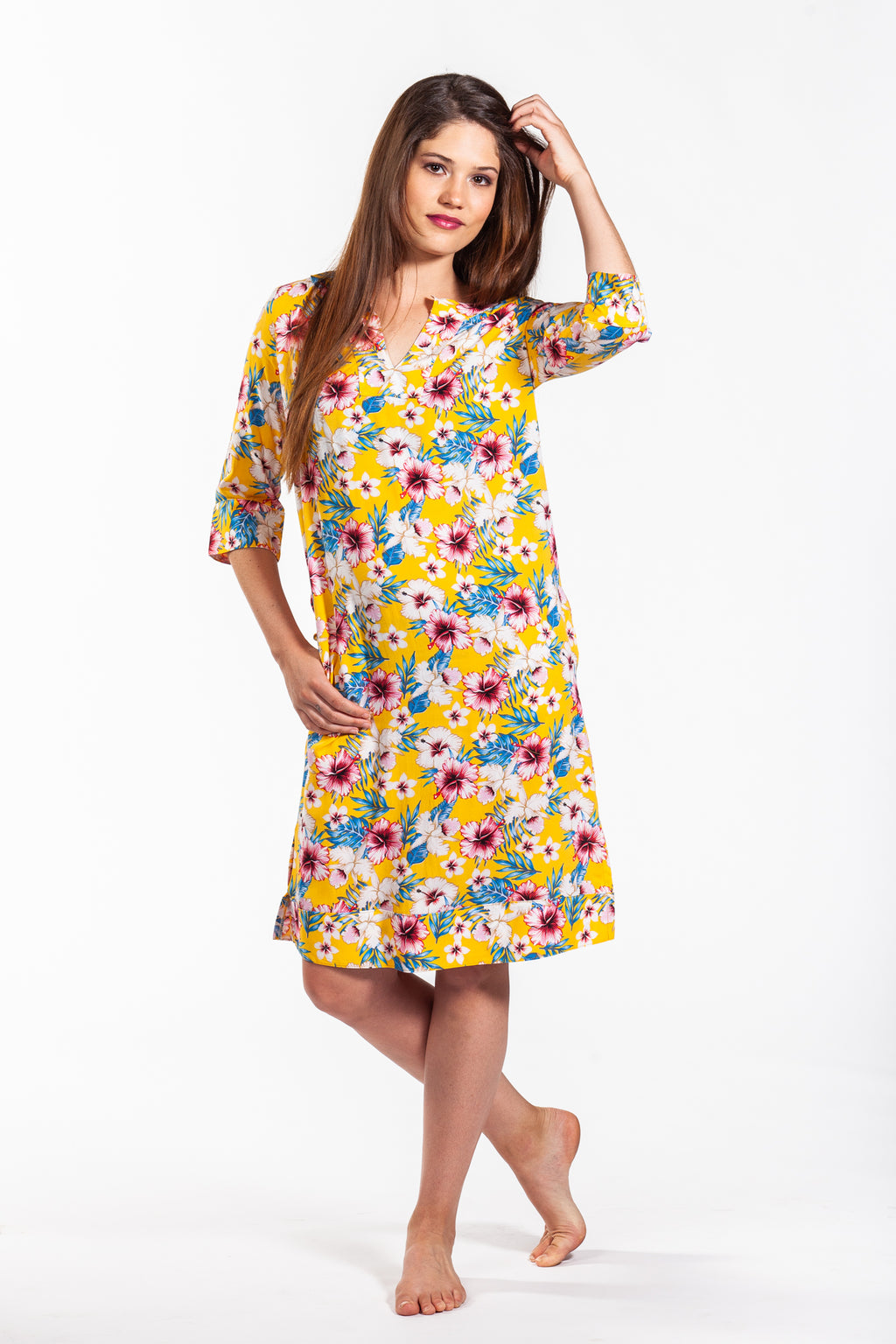 Martine Dress - Yellow Floral