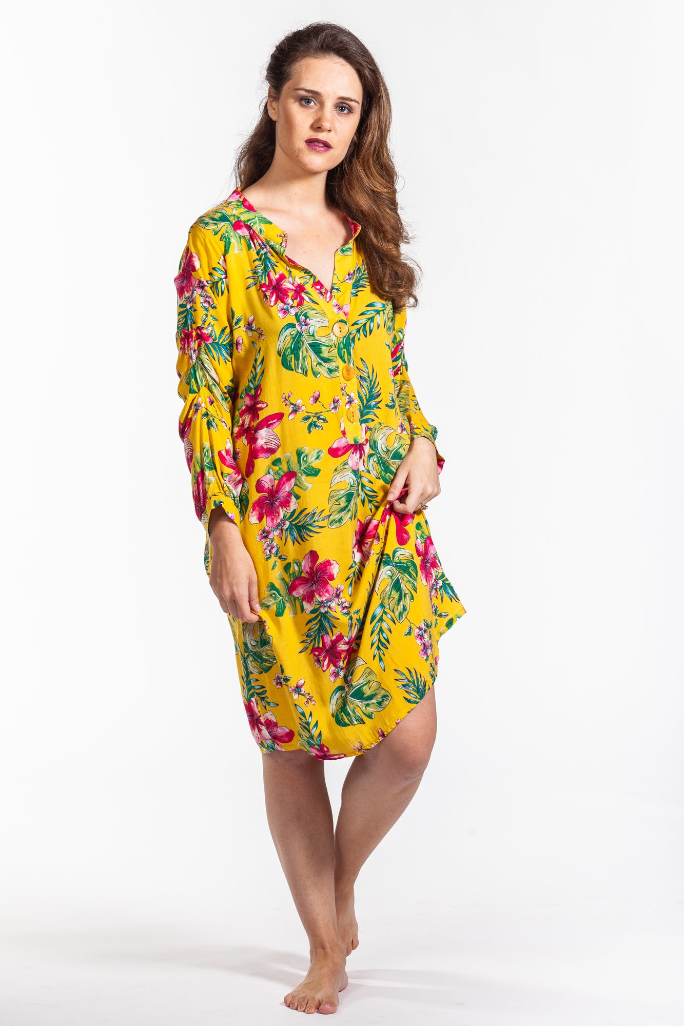Tyla Dress - Yellow Floral