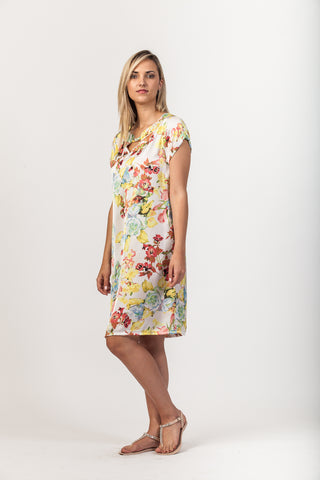 Julia Dress - Ivory/Lime
