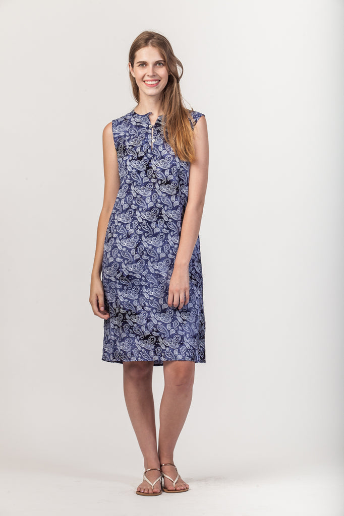 Sydney Dress - Navy paisley
