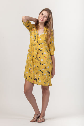 Amber Dress - Yellow Floral