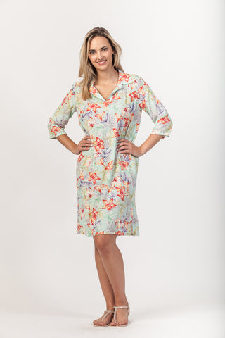 Gabriella Dress - Green Floral