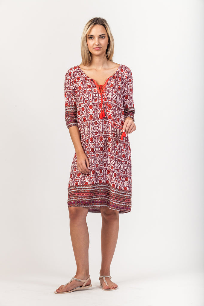 Abby Dress - Orange/Red Floral