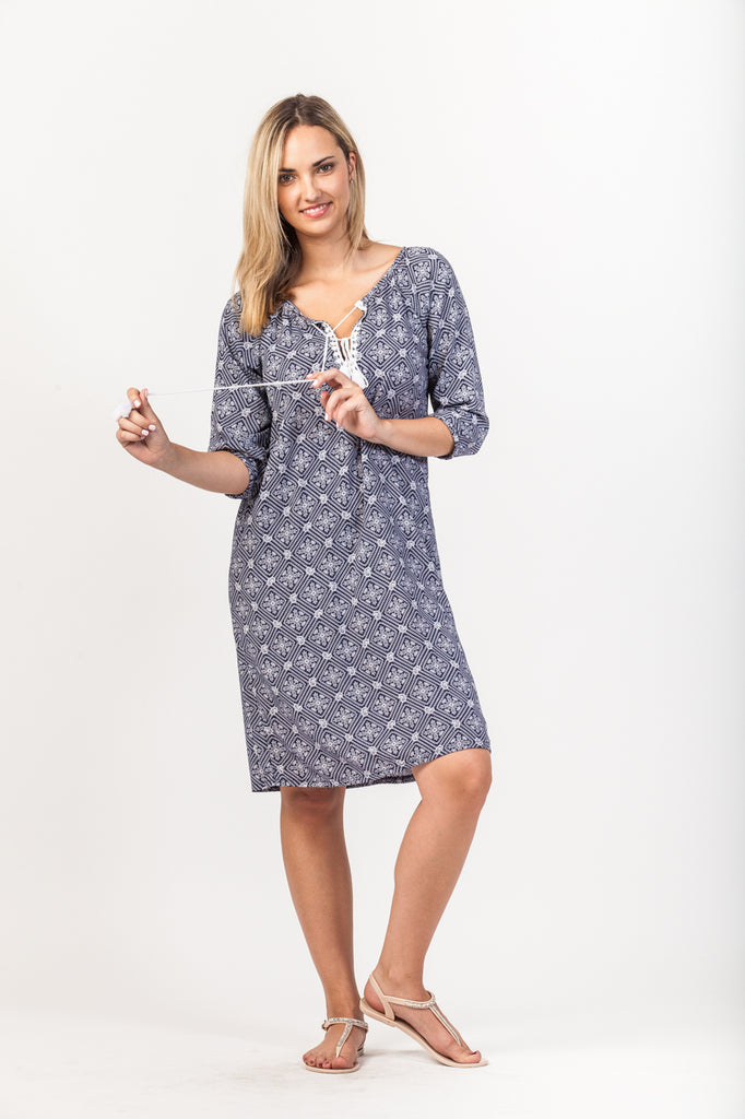 Abby Dress - Navy/White