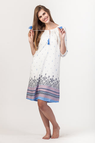 Abby Dress - White/Blue