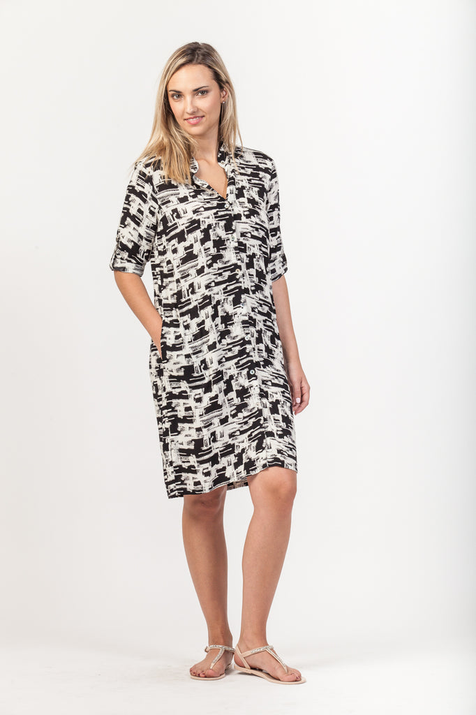 Summer Shirt Dress - Black/White Graphic