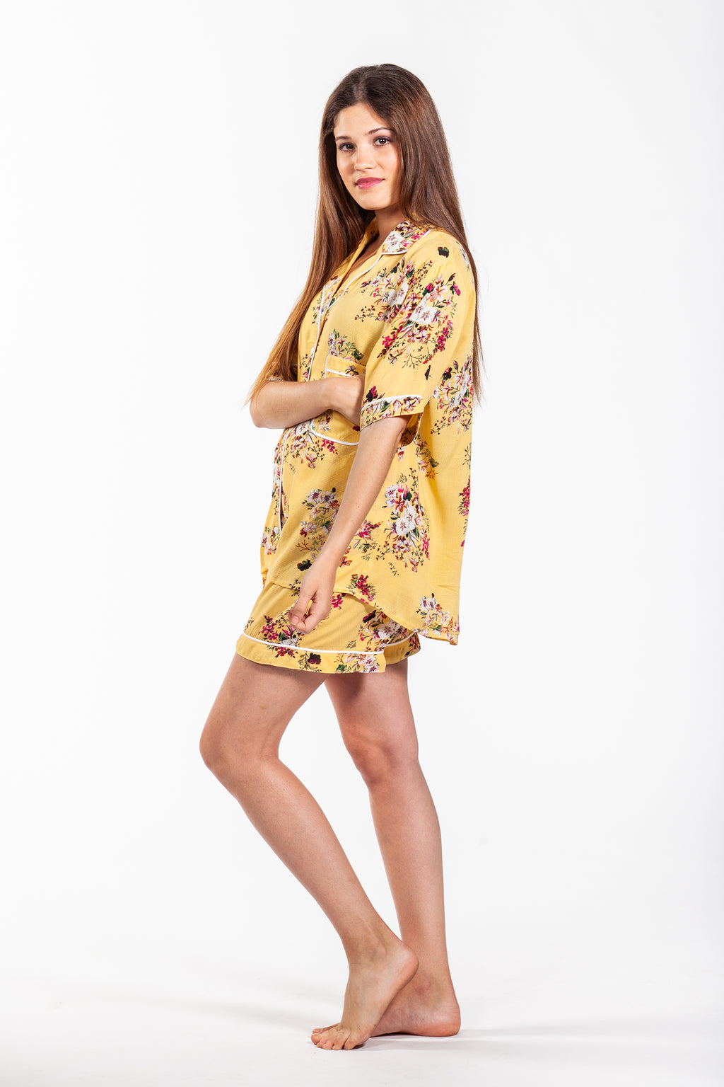 Short Pyjama Set - Yellow Floral