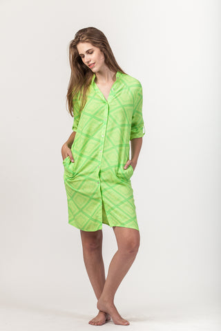 Summer Shirt Dress - Bright Green
