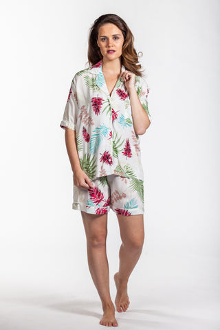 Short Pyjama Set - Creme Palms