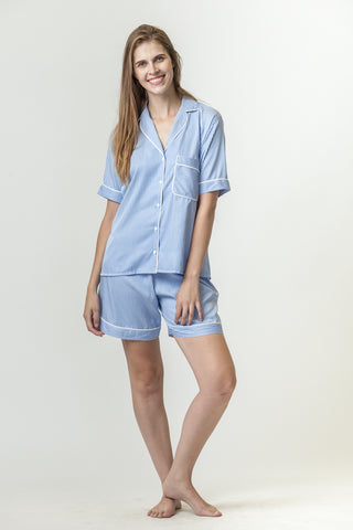Short Pyjamas - Light blue/white stripe