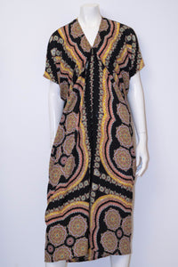 Faith Long Dress - Black Paisley