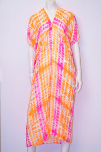 Faith Long Dress - Orange/Pink