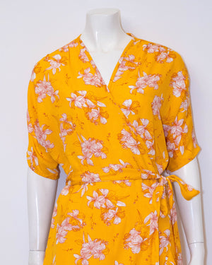 Emily Short Wrap Dress - Yellow Floral