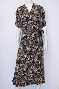 Emily Long Wrap Dress - Animal Print