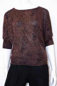 Rosa Short Sleeve Batwing Top - Black/Bronze