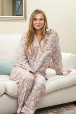 Long Pyjama Set - Taupe and White Floral
