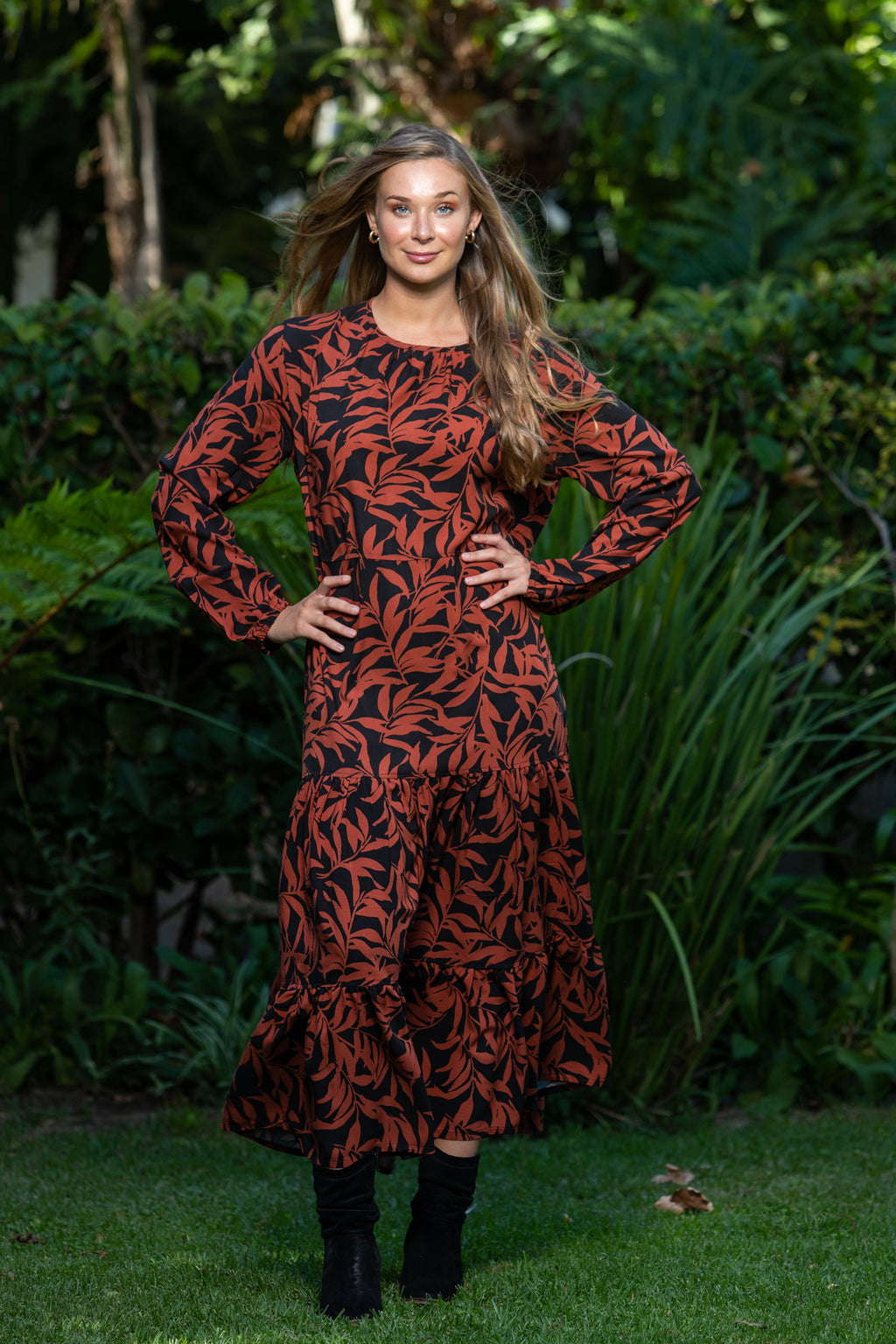Madeira Dress - Rust and Black floral