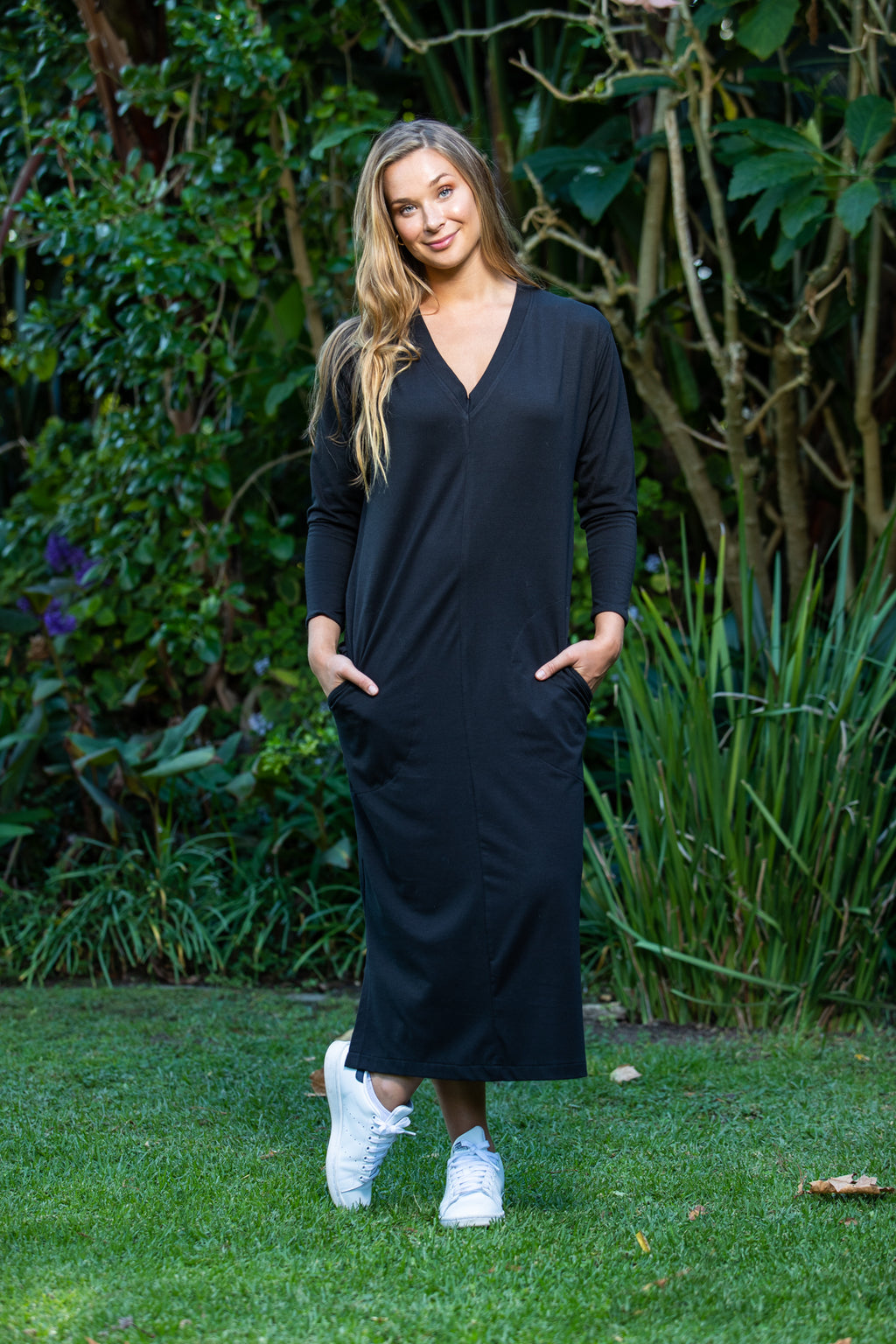 Havana Long Sleeve T-shirt Dress - Black