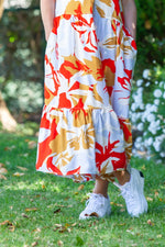 Santorini Tiered Dress - Red Floral Print