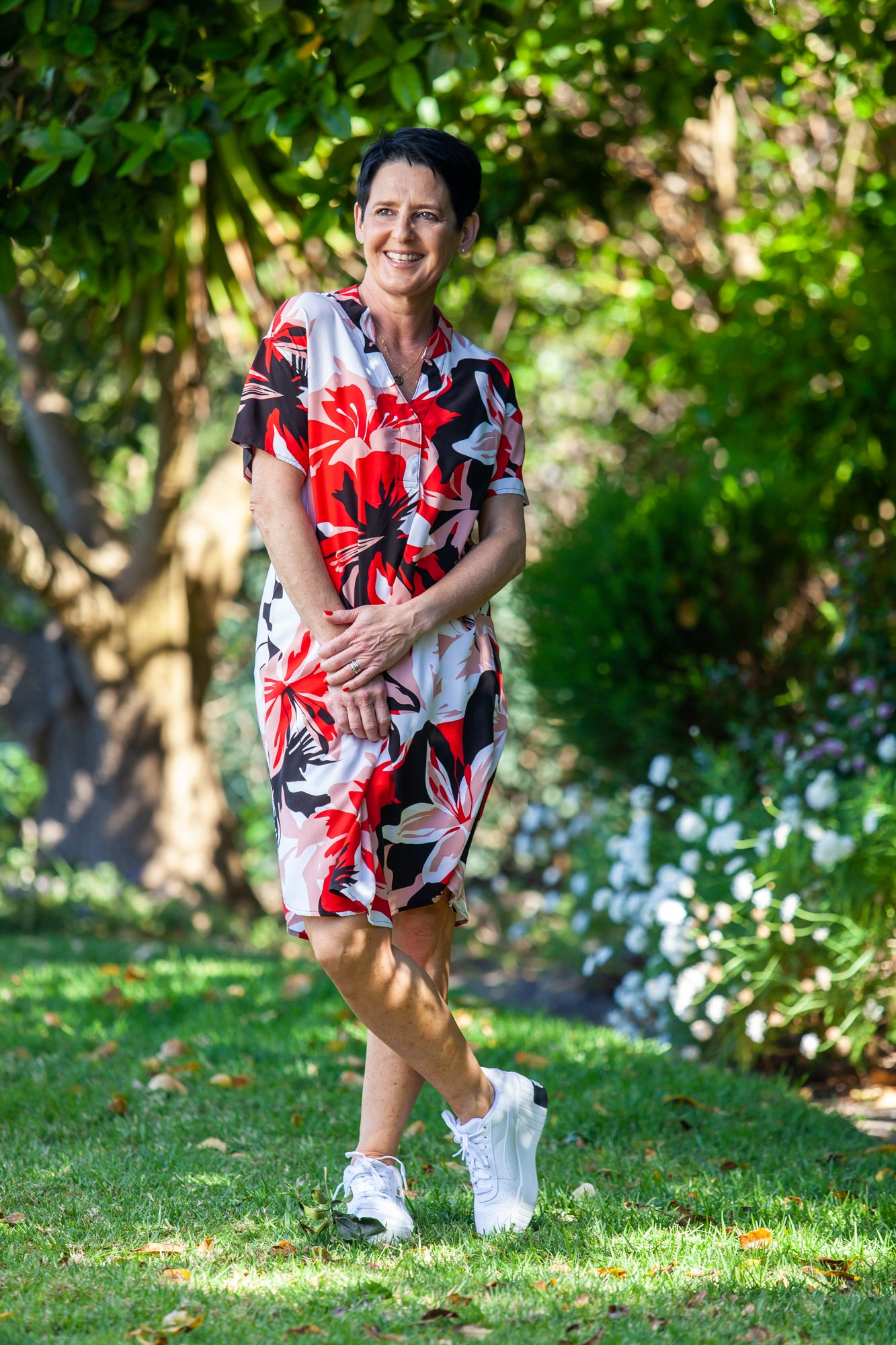 Barcelona Dress - Black and Red Floral