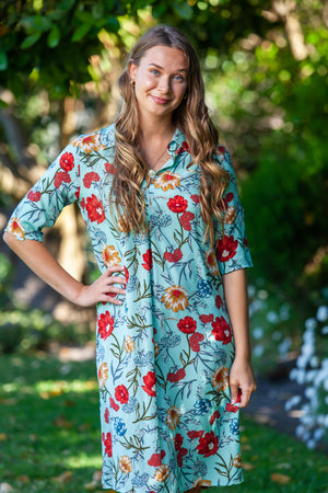 Amalfi Dress - Turquoise Floral