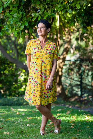 Barcelona Dress - Yellow Floral