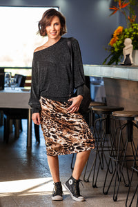 Saskia Skirt - Animal print velvet