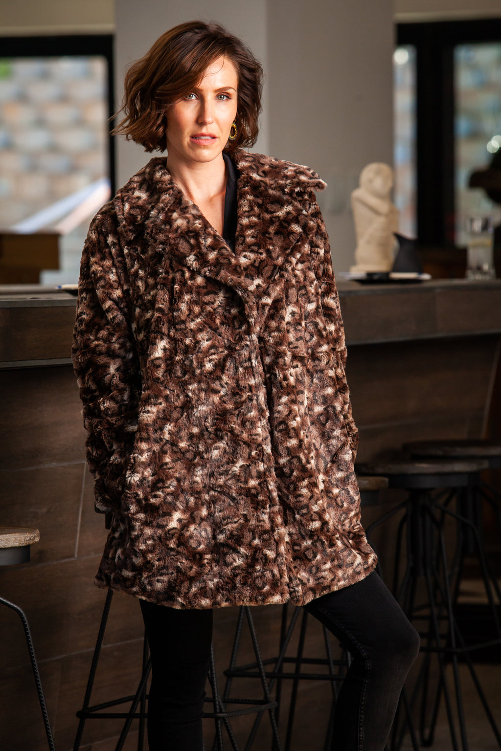 Bailey Coat - Animal print fur