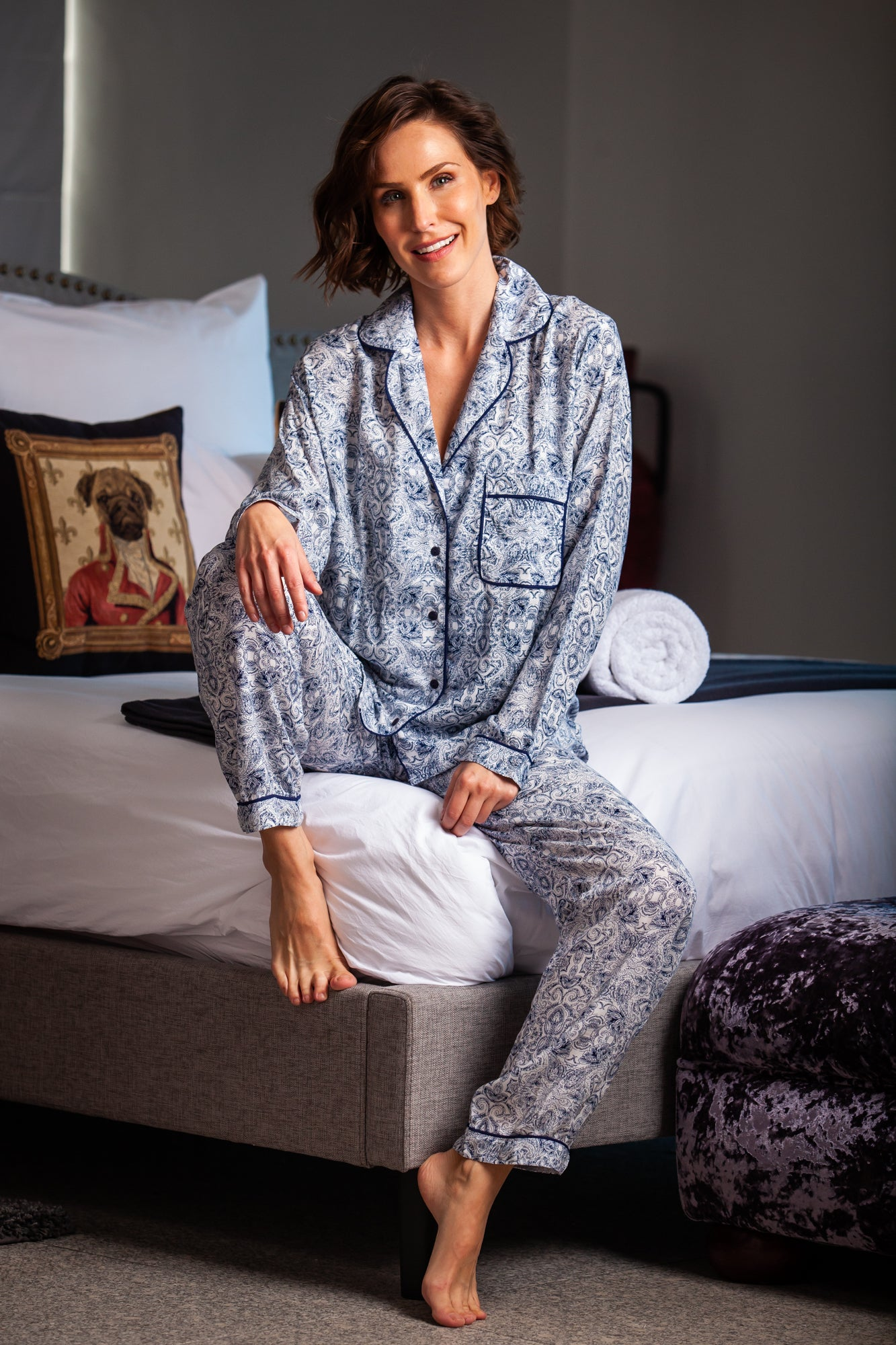 Long Pyjama Set - Navy/White Paisley
