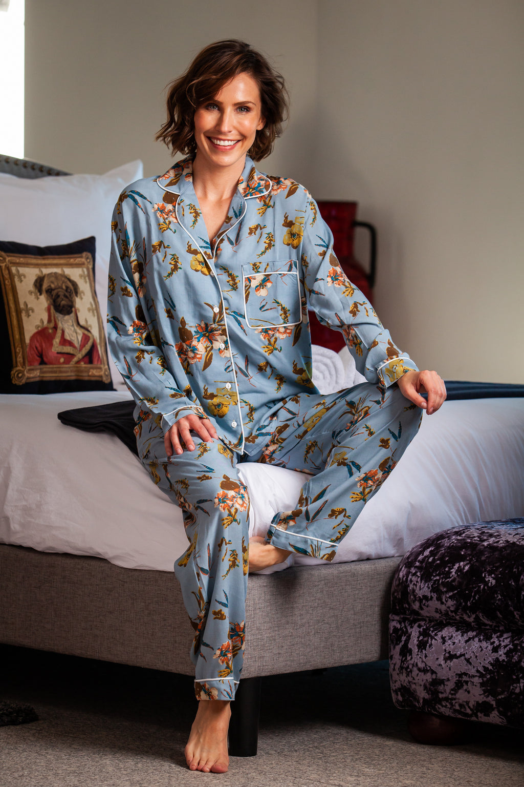 Long Pyjama Set - Duck Egg Floral