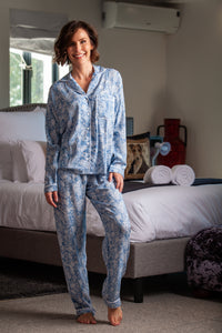 Long Pyjama Set - Light blue/white