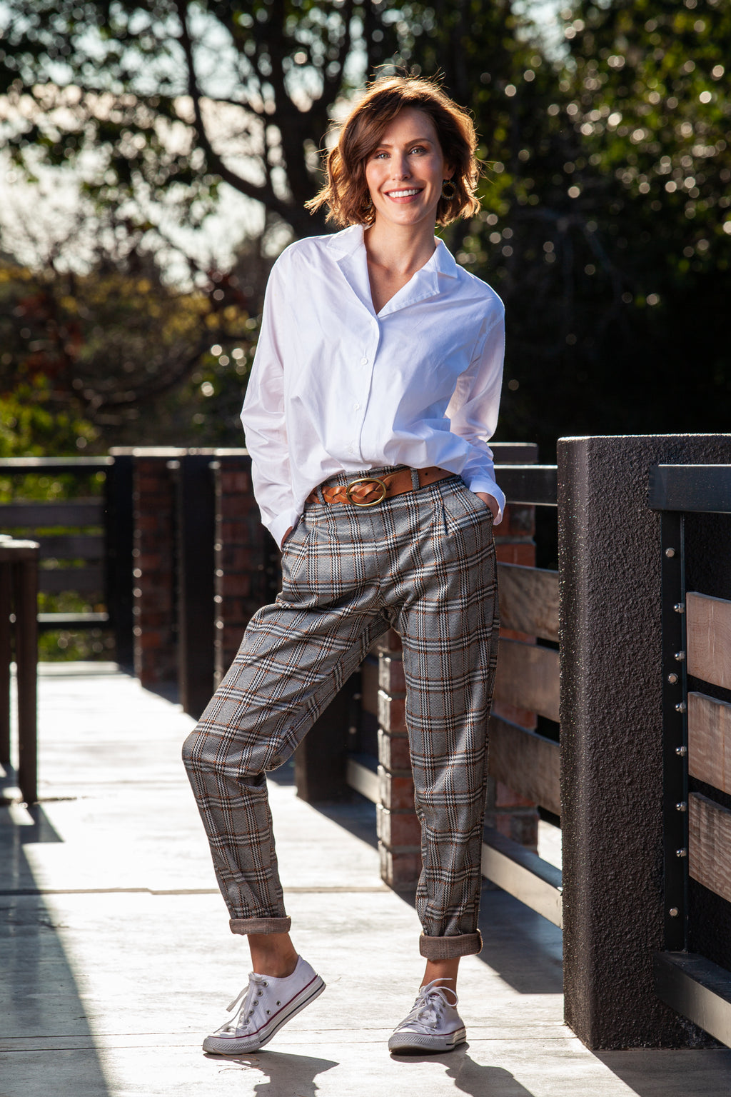 Charlie Pants - Hazel check OR Teal check