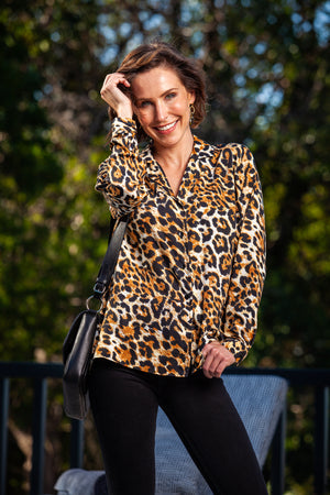 Paige Shirt - Black/Brown Animal Print