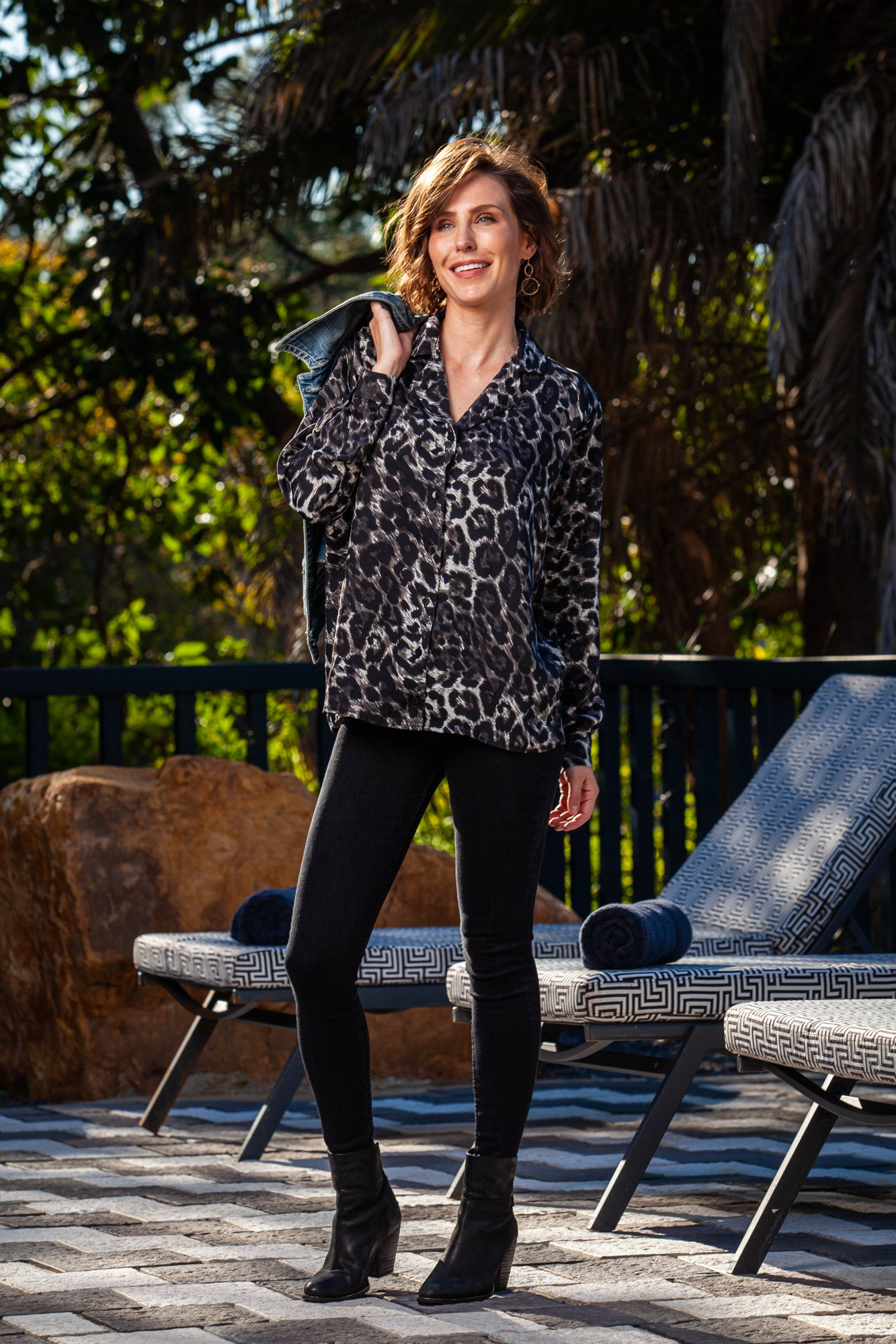 Paige Shirt - Black/Grey Animal Print