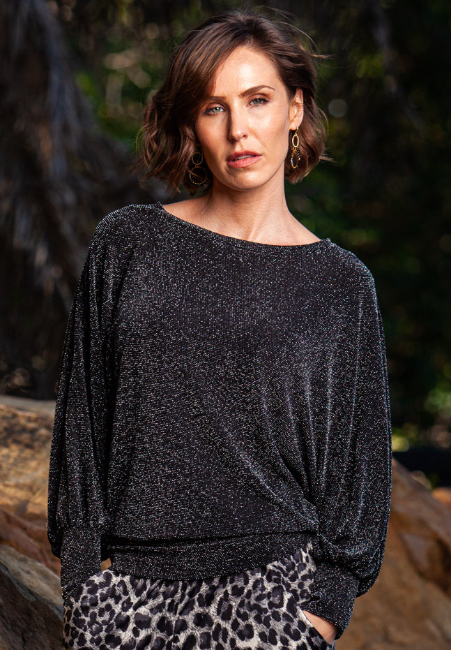 Rosa Batwing Top- Black