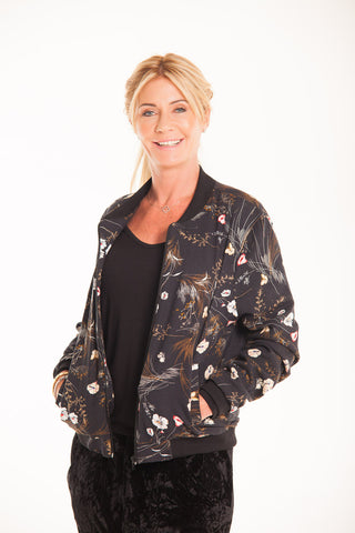 Bomber Jacket - Black Floral